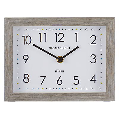 Thomas Kent Smithfield Rectangular Wood Finish Mantel Clock, 21cm, Grey