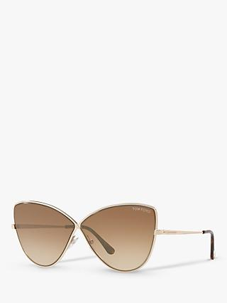 TOM FORD FT0569 Elise-02 Cat's Eye Sunglasses, Gold/Brown Gradient