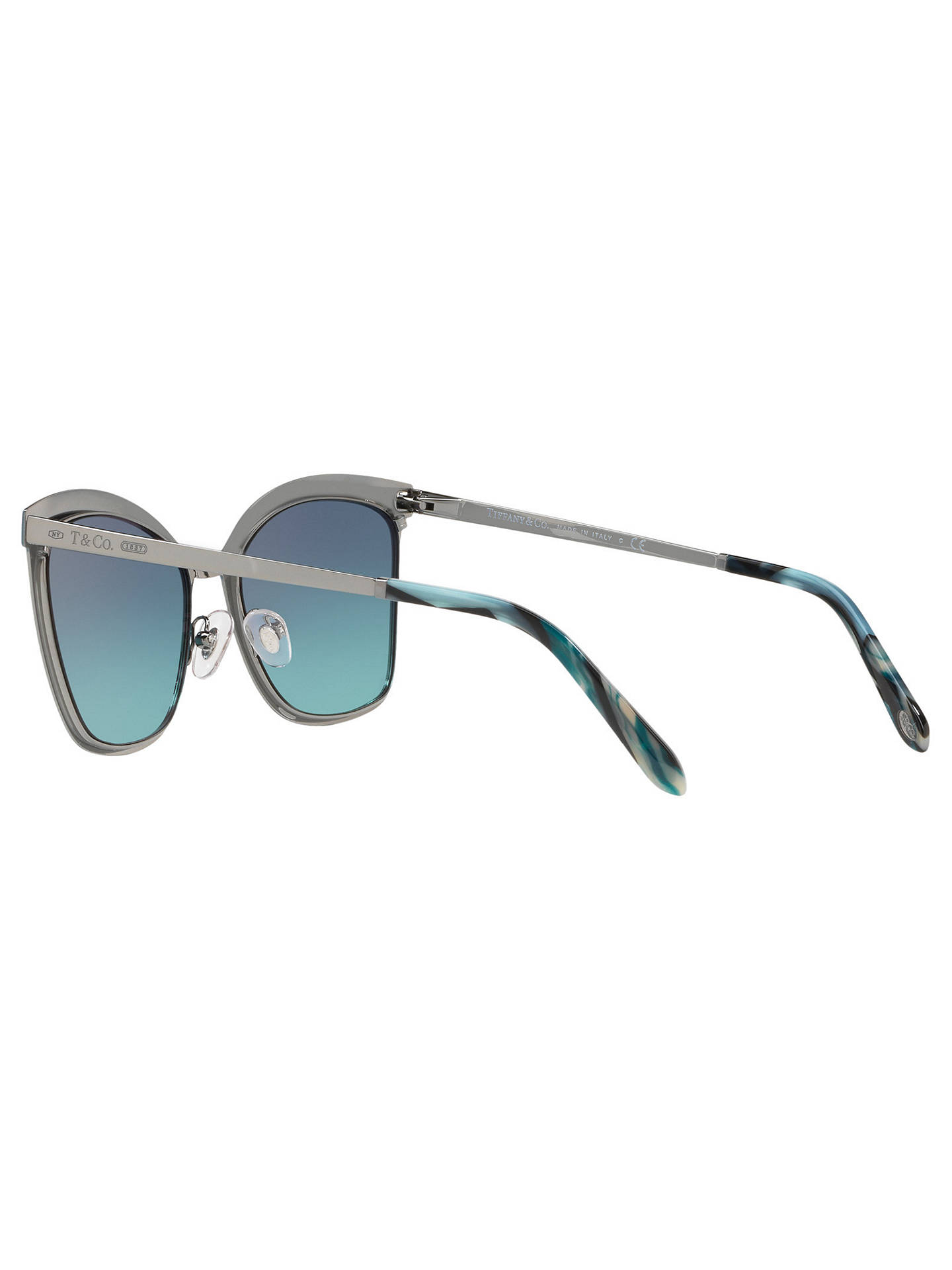Buy Tiffany & Co TF3060 Square Sunglasses, Silver/Blue Gradient Online at johnlewis.com