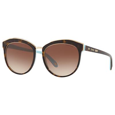 Tiffany & Co TF4146 Women's Oval Sunglasses, Tortoise/Brown Gradient