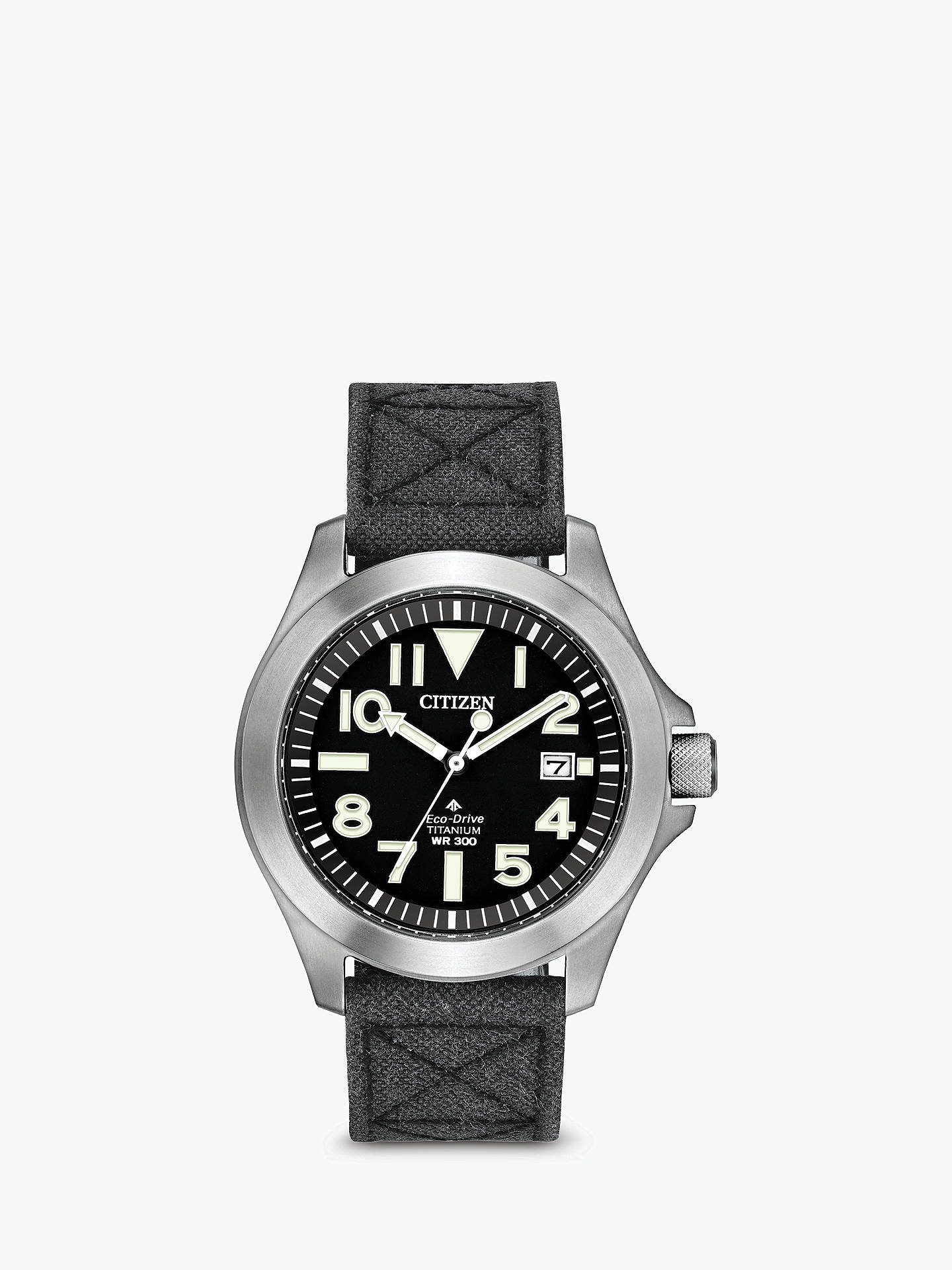 df91a459a Buy Citizen Men's Eco-Drive Titanium Date Fabric Strap Watch, Grey/Black  BN0118 ...