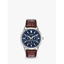 Buy Citizen BU2070-12L Men's Eco-Drive Chronograph Leather Strap Watch, Brown/Blue Online at johnlewis.com