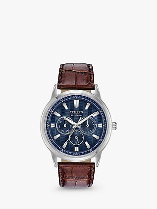 Citizen BU2070-12L Men's Eco-Drive Chronograph Leather Strap Watch, Brown/Blue