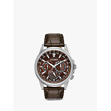 Buy Citizen BU2020-29X Men's Eco-Drive Chronograph World Time Leather Strap Watch, Brown Online at johnlewis.com
