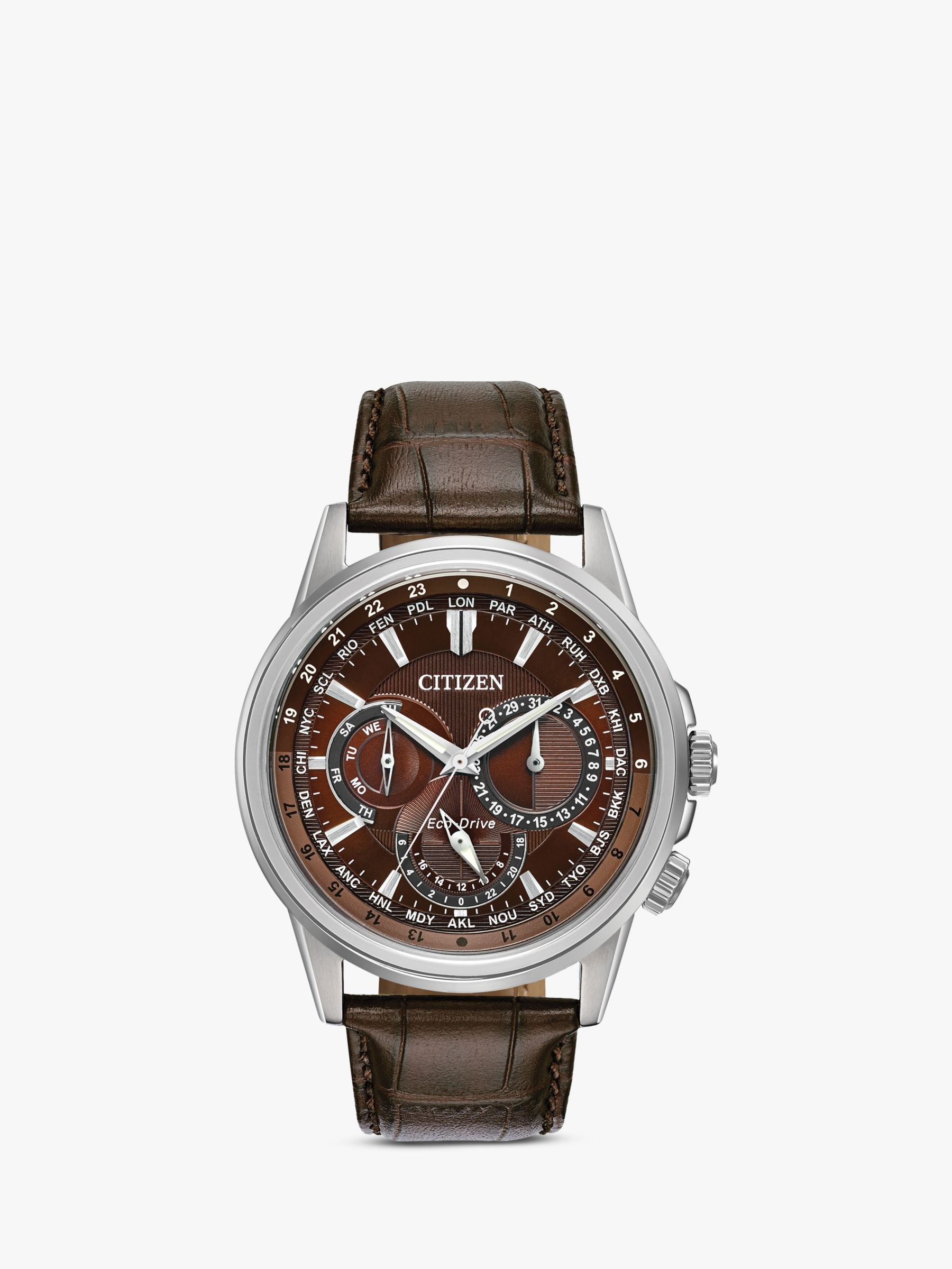 Citizen Citizen BU2020-29X Men's Eco-Drive Chronograph World Time Leather Strap Watch, Brown