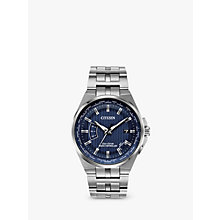 Buy Citizen CB0160-51L Men's Eco-Drive World Perpetual A-T Date Bracelet Strap Watch, Silver/Blue Online at johnlewis.com