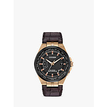 Buy Citizen CB0168-08E Men's Eco-Drive World Perpetual A-T Date Leather Strap Watch, Brown/Black Online at johnlewis.com