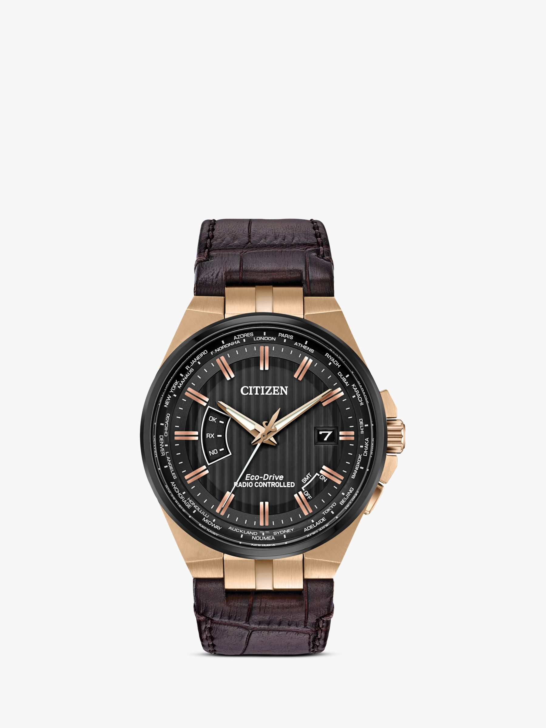 Citizen Citizen CB0168-08E Men's Eco-Drive World Perpetual A-T Date Leather Strap Watch, Brown/Black
