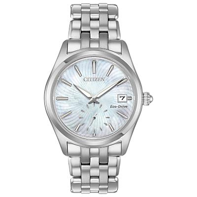 Citizen EV1030-57D Women's Corso Eco-Drive Date Bracelet Strap Watch, Silver/Mother of Pearl
