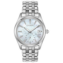 Buy Citizen EV1030-57D Women's Corso Eco-Drive Date Bracelet Strap Watch, Silver/Mother of Pearl Online at johnlewis.com