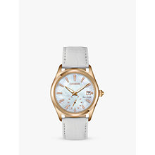 Buy Citizen EV1033-08D Women's Corso Eco-Drive Date Leather Strap Watch, White/Mother of Pearl Online at johnlewis.com