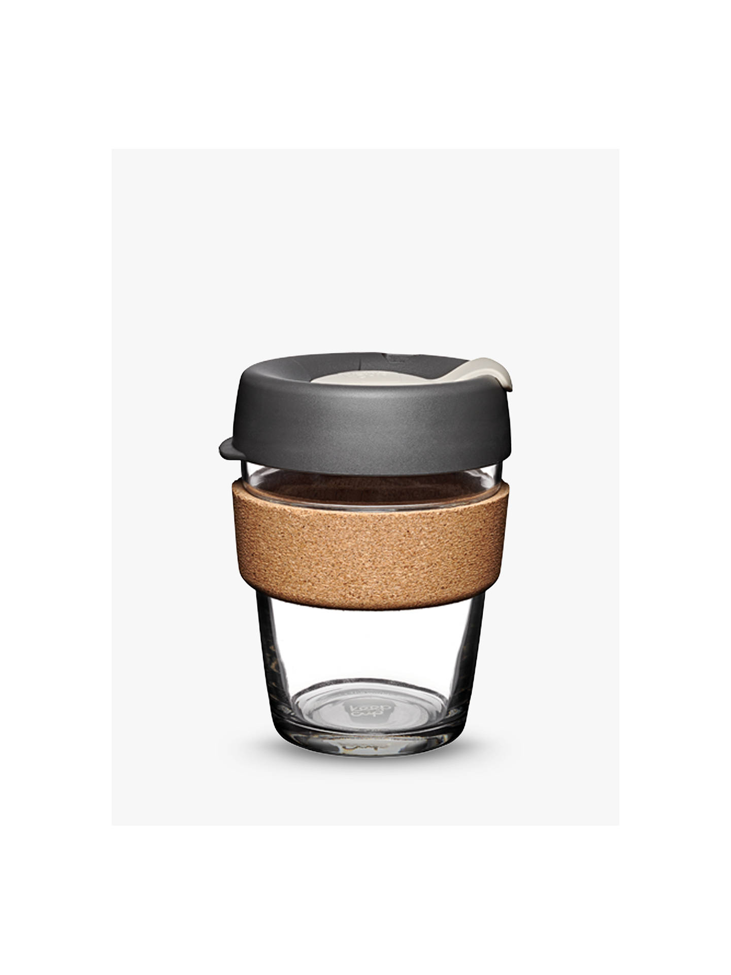 Buy KeepCup Cork Brew Reusable 12oz Glass Coffee Cup/Travel Mug, 340ml, Clear/Grey Online at johnlewis.com