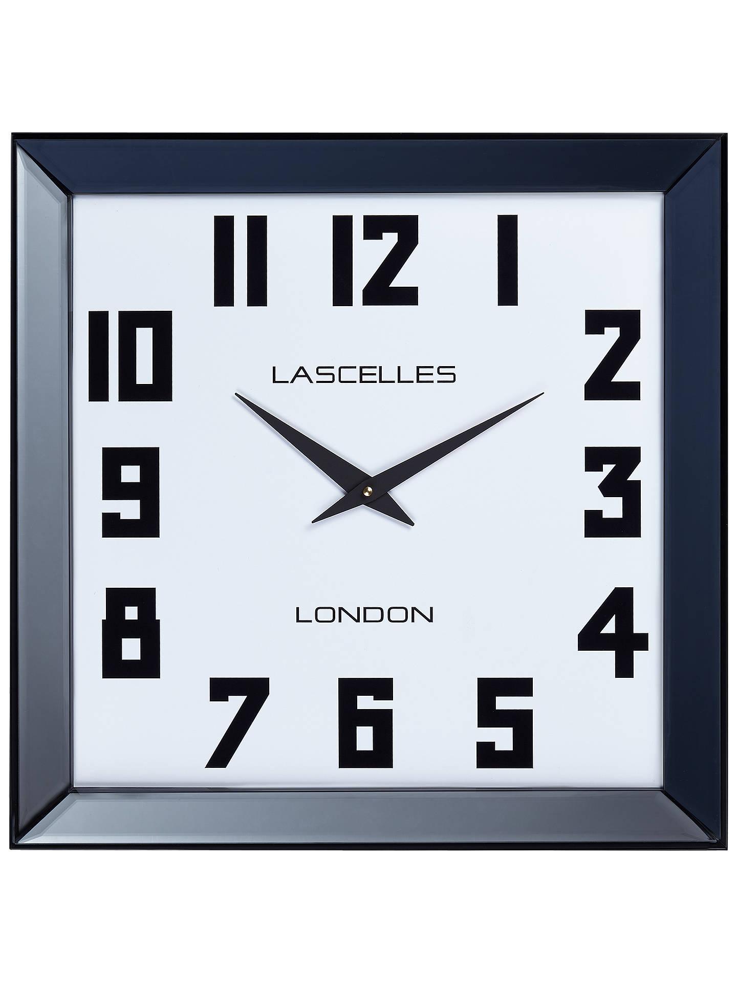 Lascelles Manhattan Square Mirror Frame Wall Clock 50cm Black At