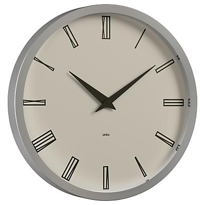 Umbra Nickel Edged Clock, Grey, Dia.50cm
