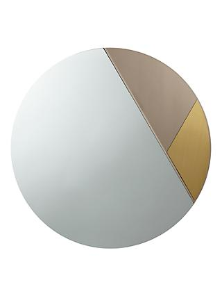 John Lewis Partners Clarice Round Metal Edge Mirror 60cm Clear Brass