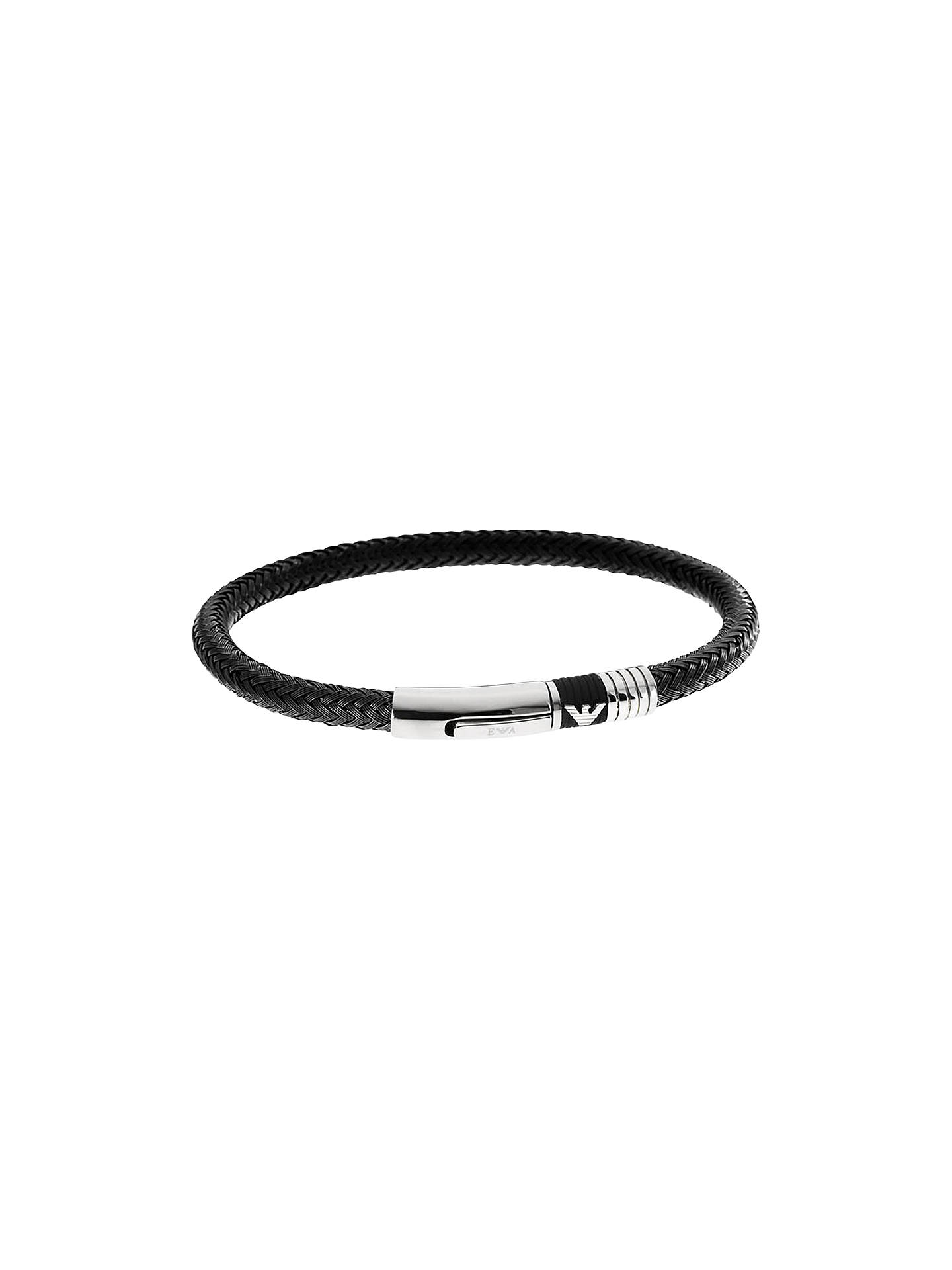 9afbae348 Buy Emporio Armani Men's Braided Leather Bracelet, Black/Silver Online at  johnlewis.com