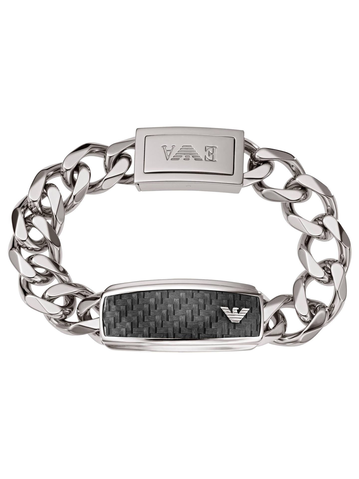 5a91b97c Emporio Armani Men's Stainless Steel Chunky Chain Bracelet, Black/Silver