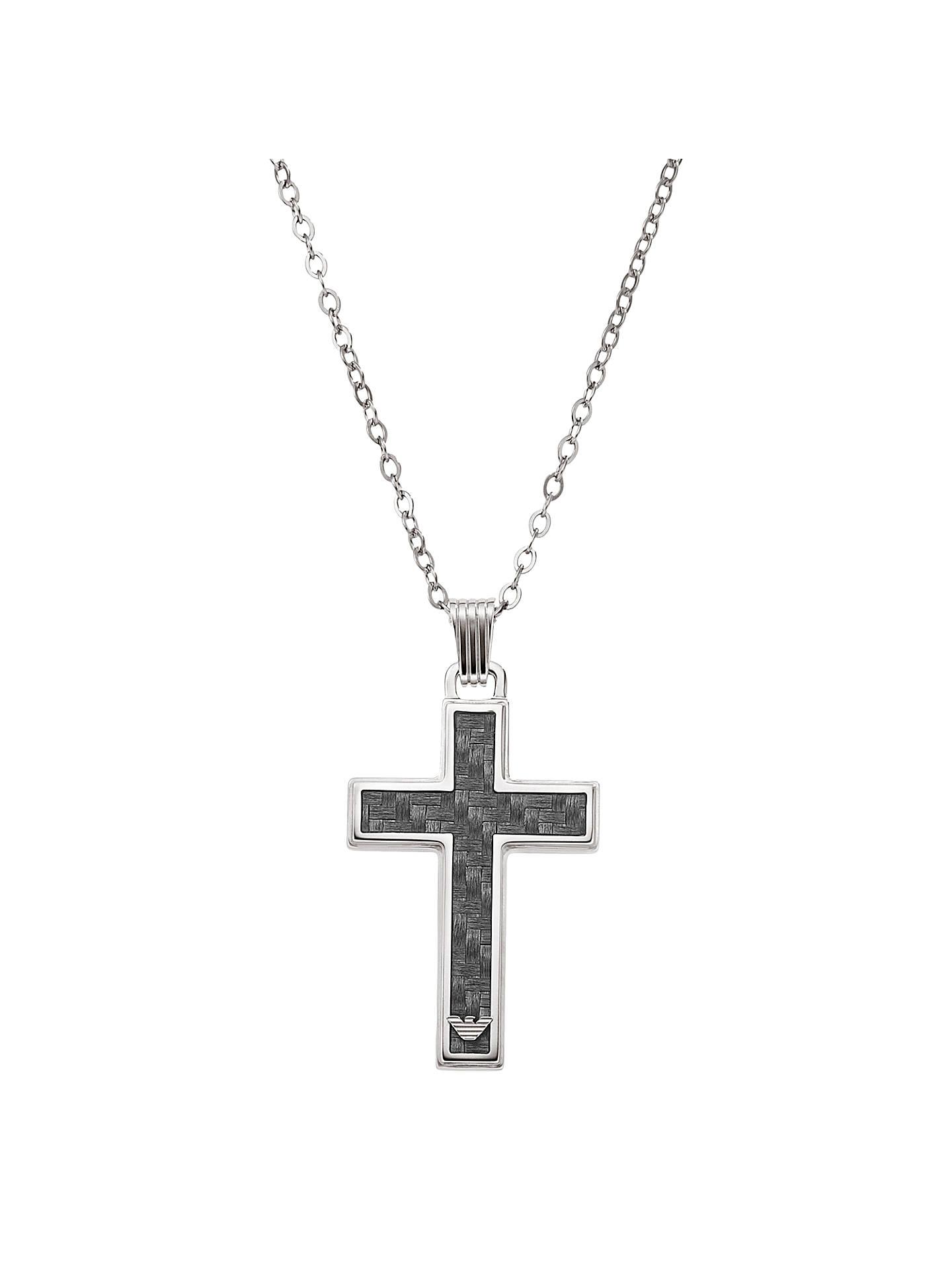 0443a59b Emporio Armani Men's Cross Necklace, Black/Silver