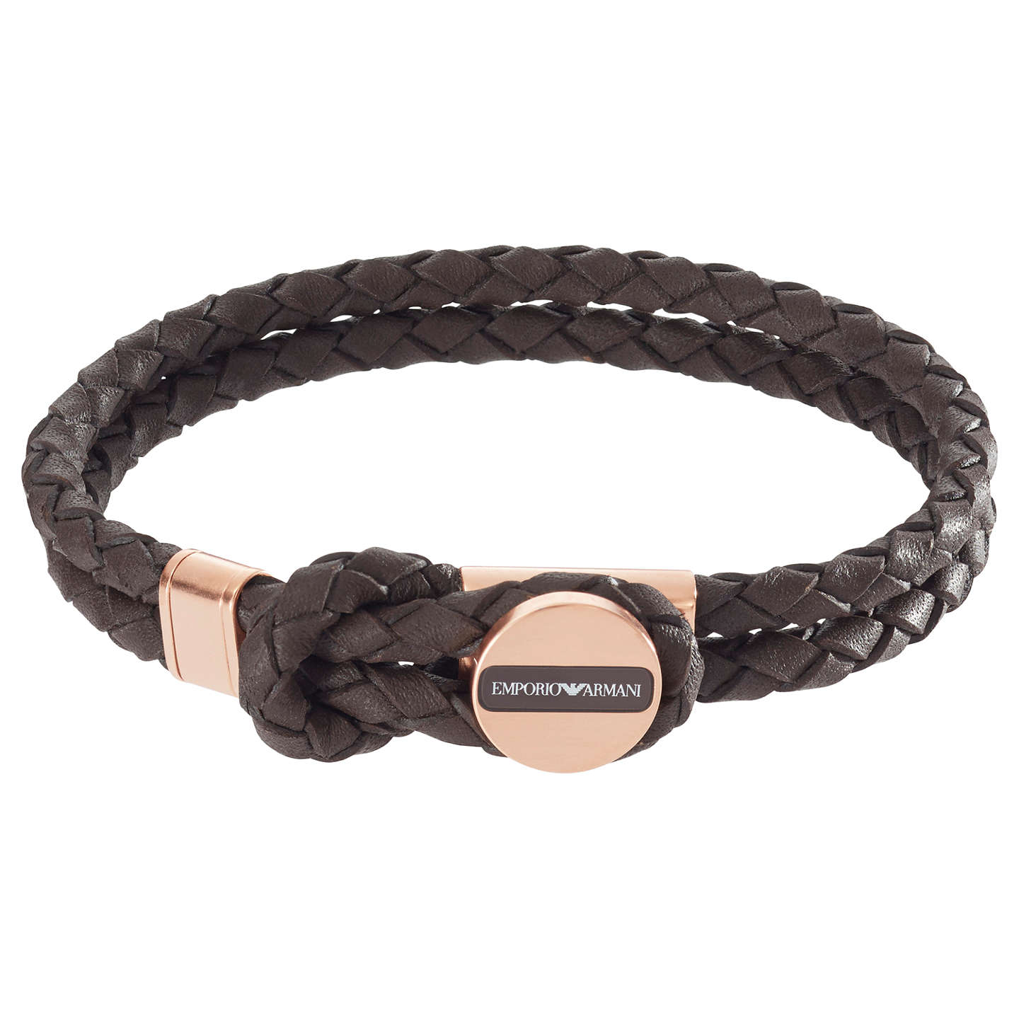 Emporio Armani Men S Braided Leather Bracelet Brown Gold Online At Johnlewis