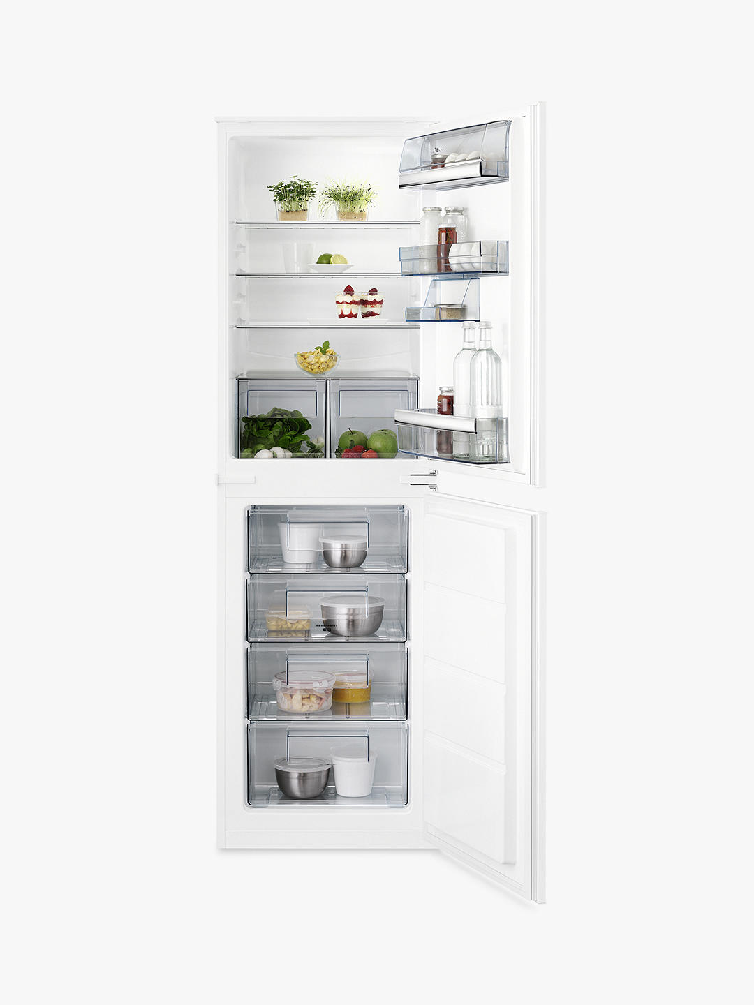 Buy AEG SCB6181VLS Integrated 50/50 Fridge Freezer, Sliding Door Hinge, A+ Energy Rating, 55cm Wide, White Online at johnlewis.com