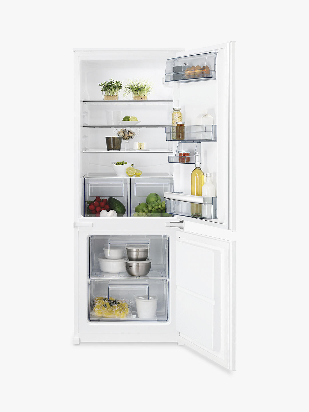 Buy AEG SCB5142VLS Integrated 70/30 Fridge Freezer, Sliding Door Hinge, A++ Energy Rating, 54cm, White Online at johnlewis.com
