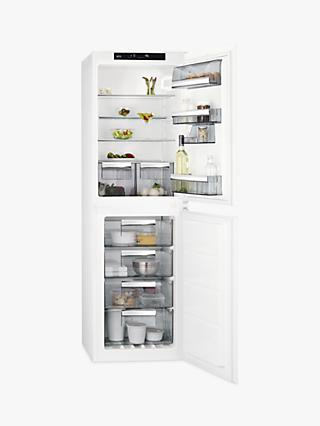 AEG SCE8181VNS Integrated 50/50 Fridge Freezer, Sliding Door Hinge, A+ Energy Rating, 54cm Wide, White