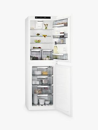 AEG SCE8182XTS Integrated 50/50 Fridge Freezer, Sliding Door Hinge, A++ Energy Rating, 54cm Wide, White