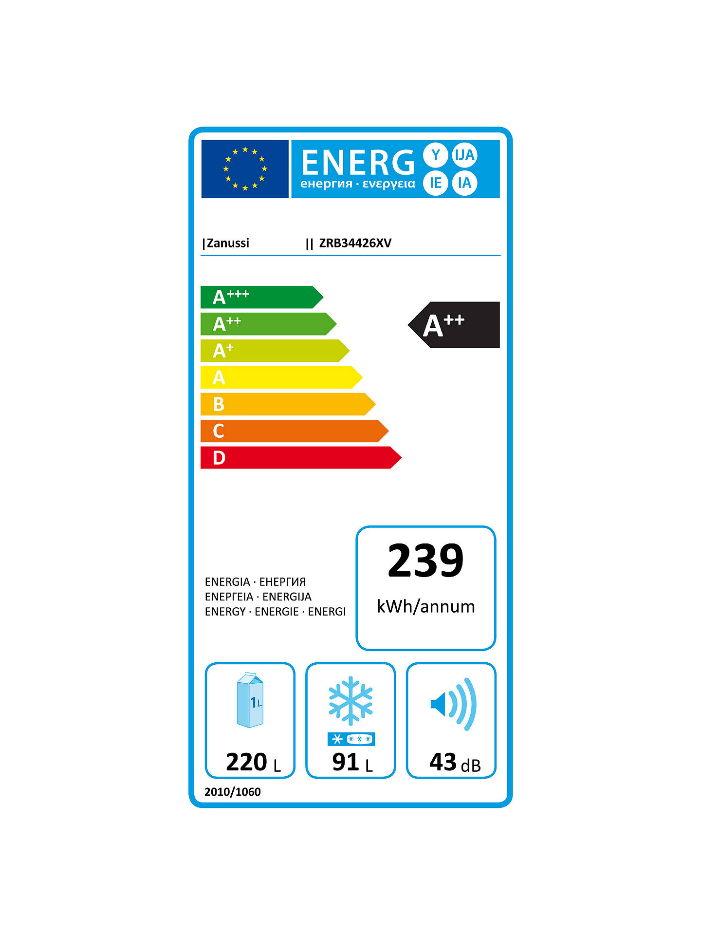 Buy Zanussi ZRB34426XV Fridge Freezer, A++ Energy Rating, 60cm Wide Online at johnlewis.com