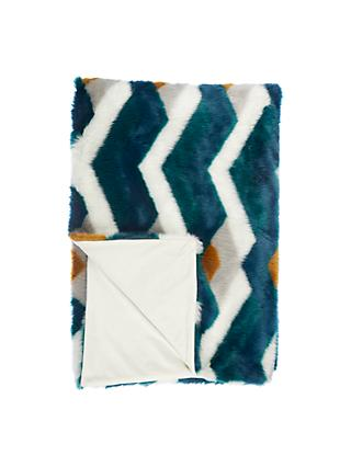 John Lewis & Partners Arezzo Faux Fur Throw, Teal