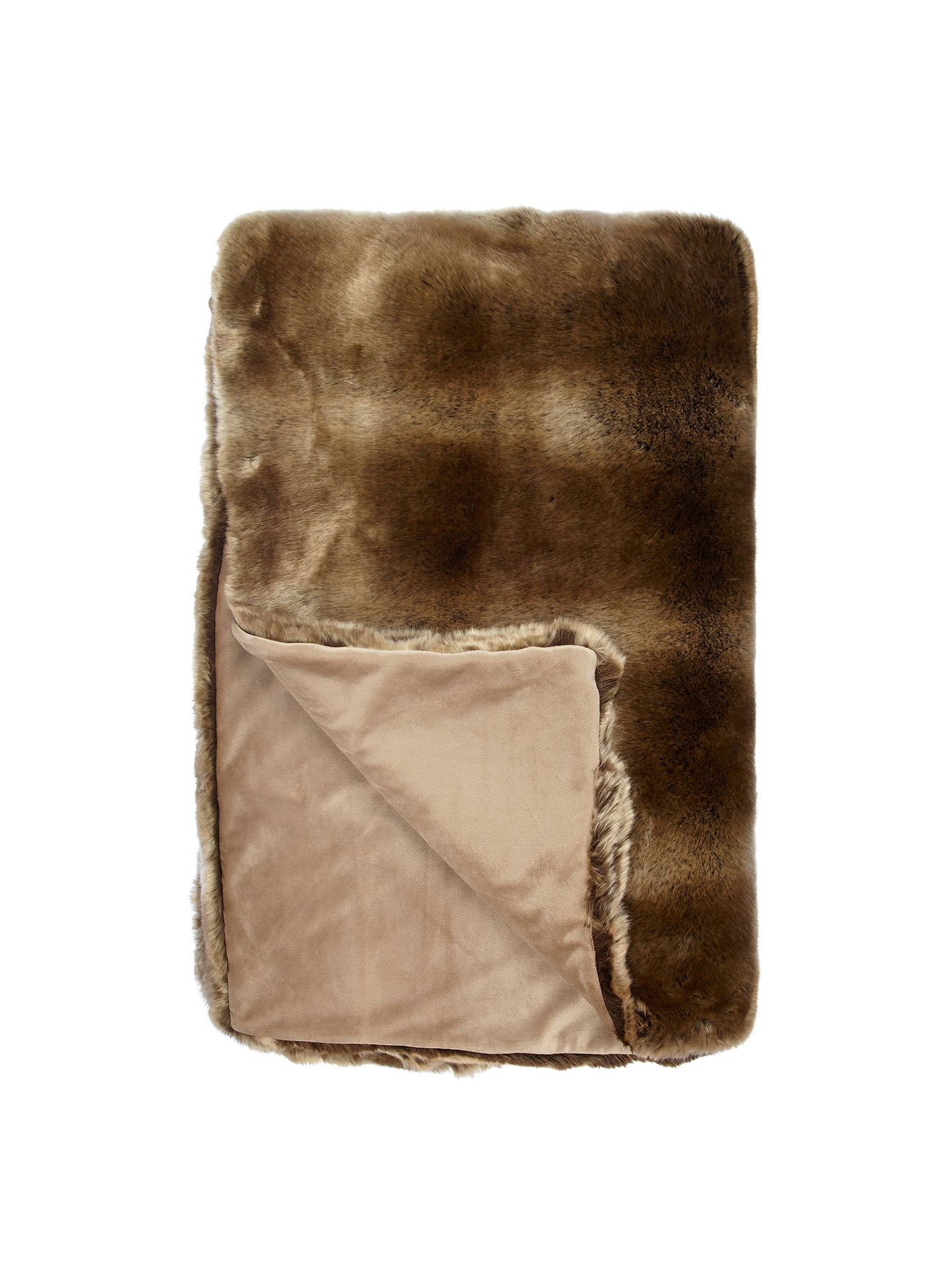 John Lewis Partners Faux Fur Throw Golden Brown