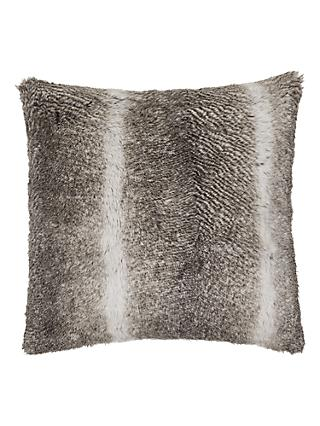 John Lewis & Partners Faux Fur Cushion, Grey