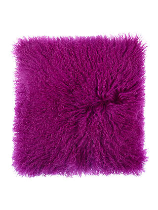 Buy John Lewis & Partners Mongolian Sheep Hair Cushion, Dahlia Online at johnlewis.com