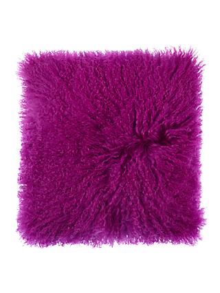 John Lewis & Partners Mongolian Sheep Hair Cushion, Dahlia