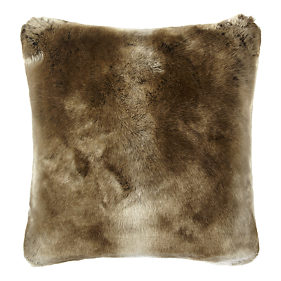John Lewis & Partners Faux Fur Cushion, Golden Brown