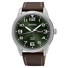 Buy Seiko SNE473P1 Men's Conceptual Day Date Leather Strap Watch, Brown/Green Online at johnlewis.com