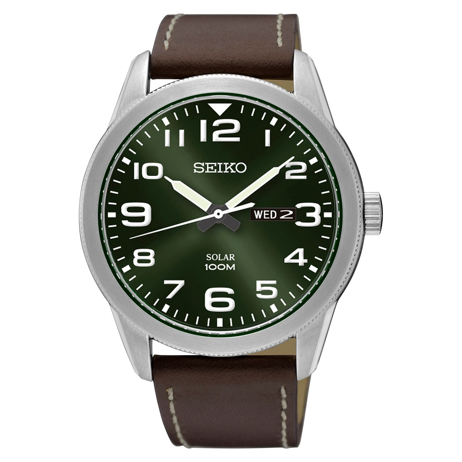 Seiko Seiko SNE473P1 Men's Conceptual Day Date Leather Strap Watch, Brown/Green