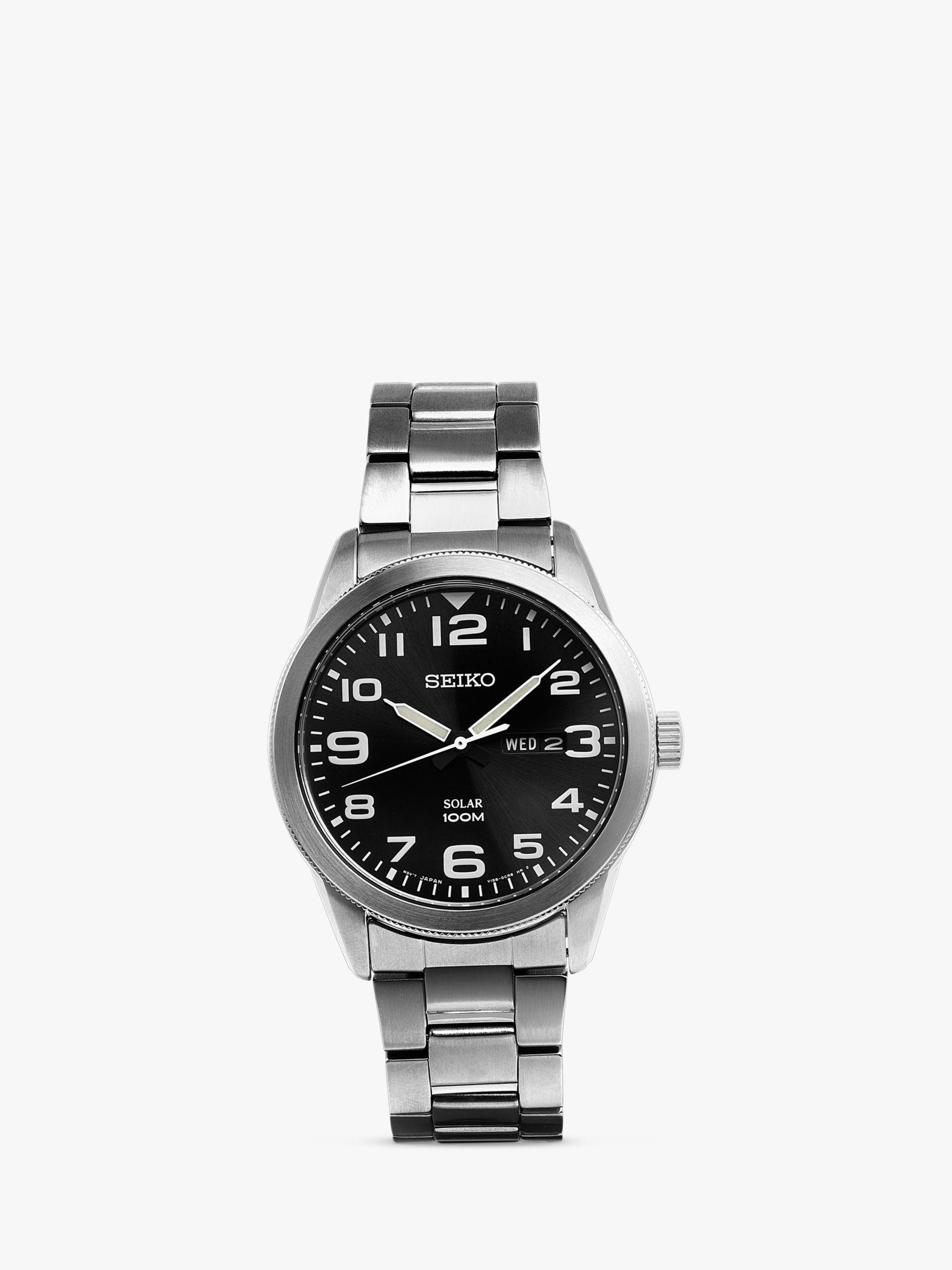 Seiko Seiko SNE471P1 Men's Conceptual Day Date Bracelet Strap Watch, Silver/Black