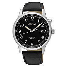 Buy Seiko SKA781P1 Men's Conceptual Date Leather Strap Watch, Black Online at johnlewis.com
