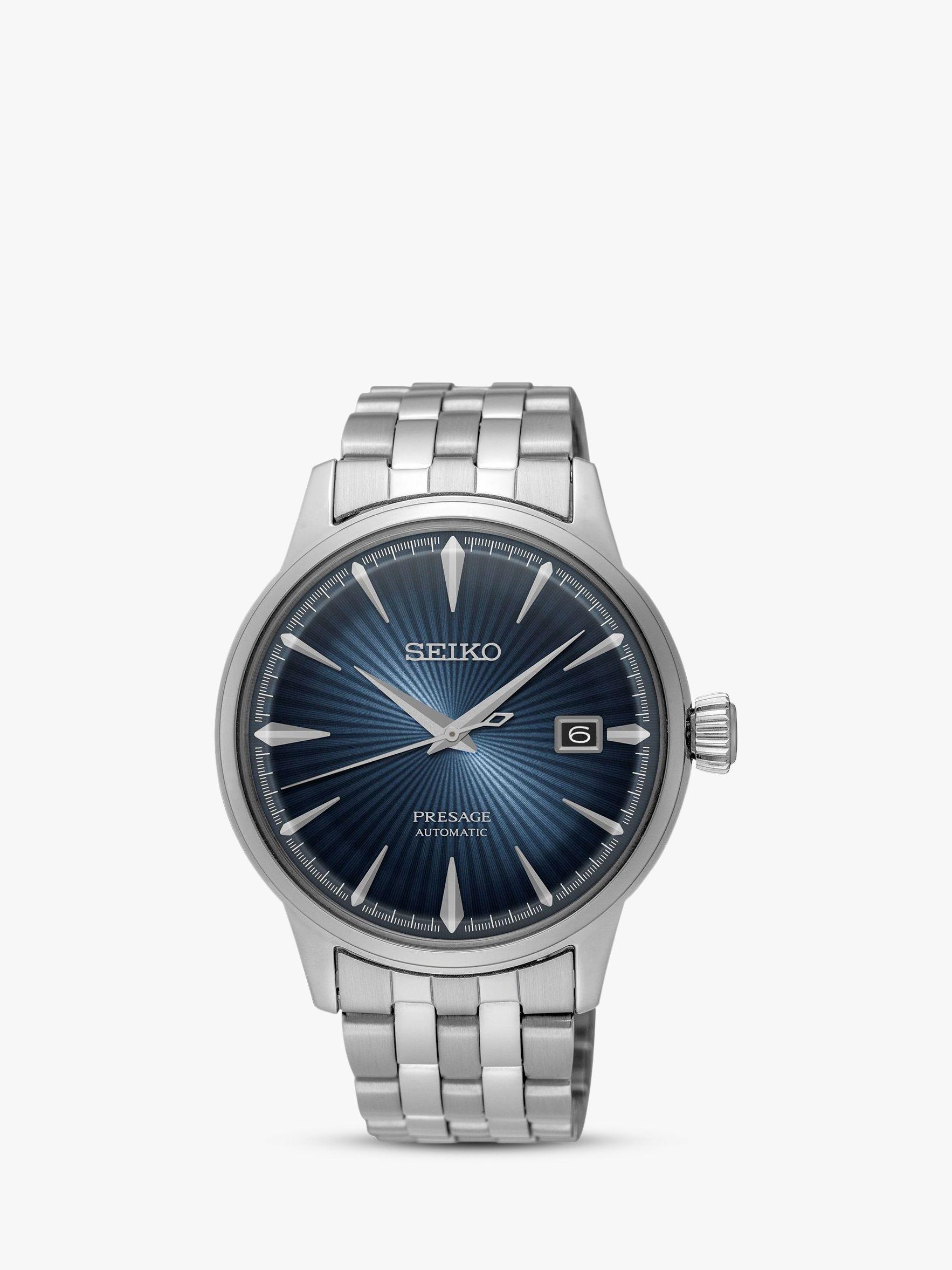 Seiko Seiko SRPB41J1 Men's Presage Automatic Date Bracelet Strap Watch, Silver/Blue