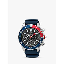 Buy Seiko SSC663P1 Men's Prospex Divers Solar Chronograph Date Silicone Strap Watch, Navy/Black Online at johnlewis.com