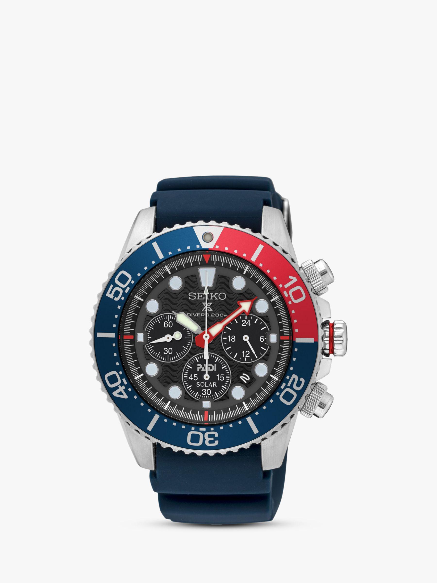 Seiko Seiko SSC663P1 Men's Prospex Divers Solar Chronograph Date Silicone Strap Watch, Navy/Black