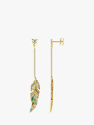 THOMAS SABO 18ct Gold Vermeil Tropical Long Feather Earrings