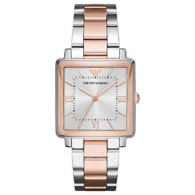 Emporio Armani AR11066 Women's Modern Square Bracelet Strap Watch, Silver/Rose Gold