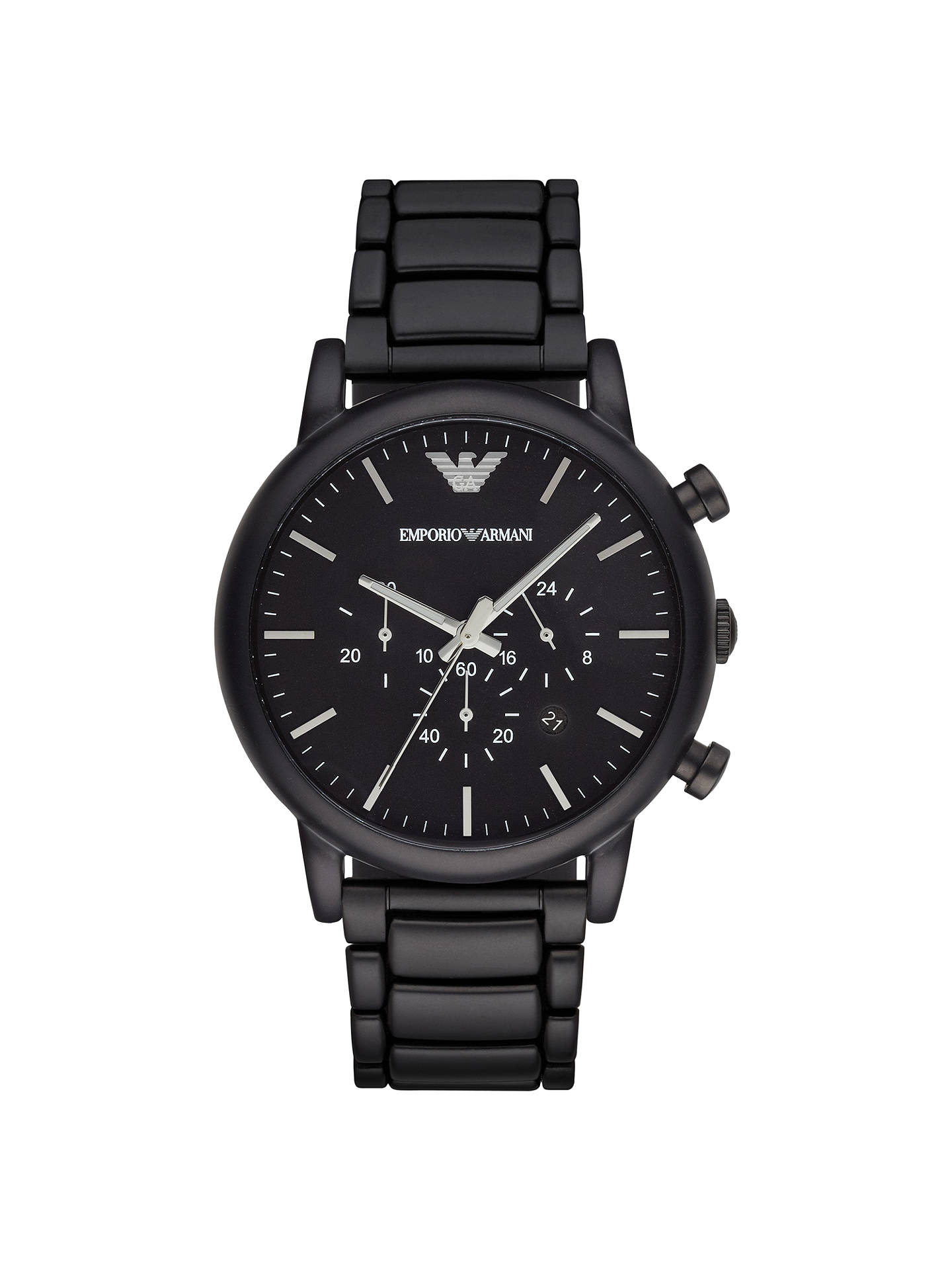 0dcf6a11b Buy Emporio Armani AR1895 Men's Chronograph Date Bracelet Strap, Black  Online at johnlewis. ...