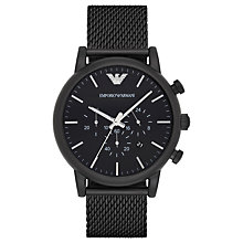 Buy Emporio Armani AR1968 Men's Chronograph Date Mesh Bracelet Strap, Black Online at johnlewis.com