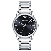 Buy Emporio Armani AR2499 Men's Date Bracelet Strap, Silver/Black Online at johnlewis.com