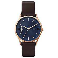 Buy Skagen SKW6450 Men's Holst Leather Strap Watch, Brown/Blue Online at johnlewis.com