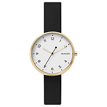 Buy Skagen Men's Signatur Slim Leather Strap Watch Online at johnlewis.com