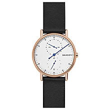 Buy Skagen SKW6390 Men's Signatur One Hand Slim Leather Strap Watch, Black/Blue Online at johnlewis.com