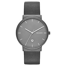 Buy Skagen SKW6320 Men's Ancher Leather Strap Watch, Grey Online at johnlewis.com